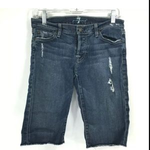 SEVEN FOR ALL MANKIND DISTRESSED DARK SHORTS SZ 27